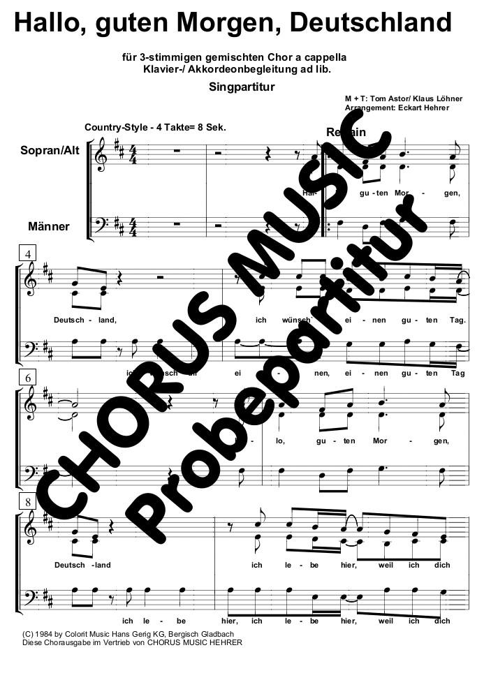 Hallo Guten Morgen Deutschland Singpartitur Gem Chor 3 Stimmig