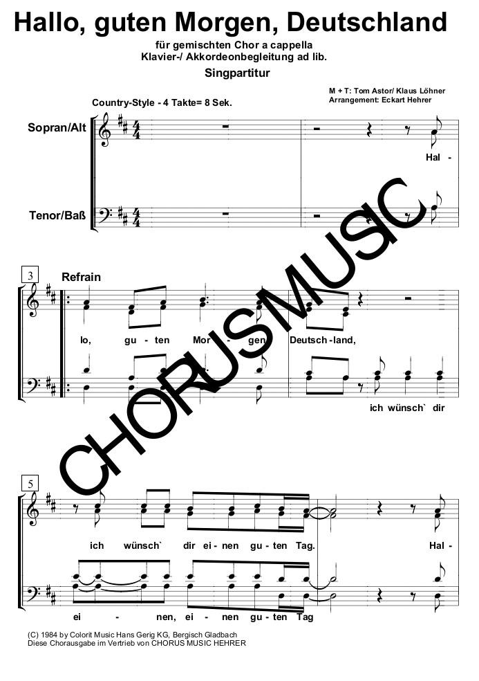 Hallo Guten Morgen Deutschland Singpartitur Gem Chor 4 Stimmig