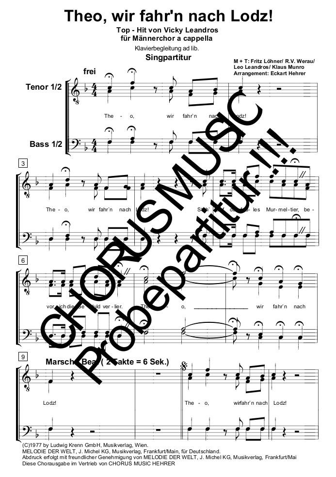 Theo Wir Fahrn Nach Lodz Singpartitur Männerchor 4 Stimmig
