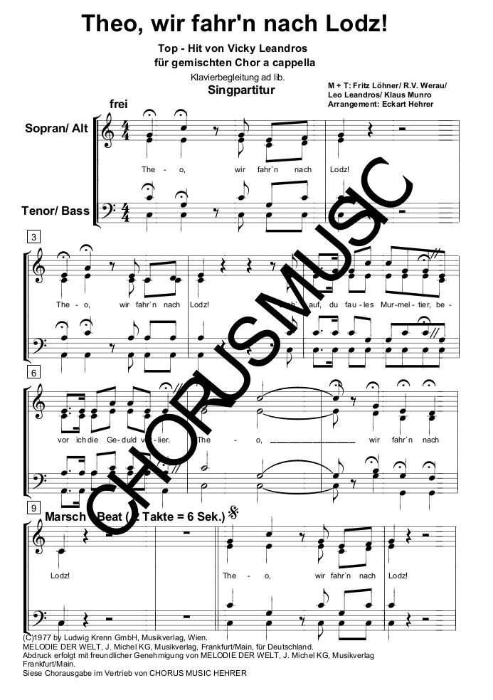Theo Wir Fahrn Nach Lodz Singpartitur Gem Chor 4 Stimmig