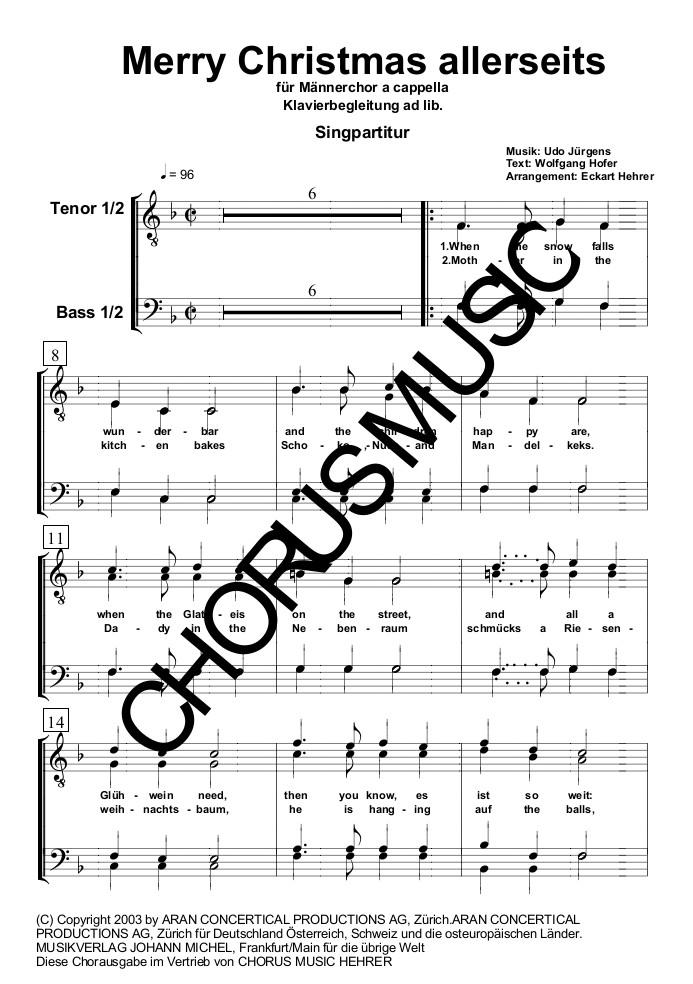 Udo Jürgens Weihnachtslieder.Merry Christmas Allerseits Singpartitur Männerchor 4 Stimmig